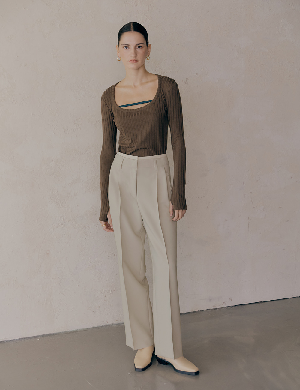 Double Waist high Rise Trouser_Cream