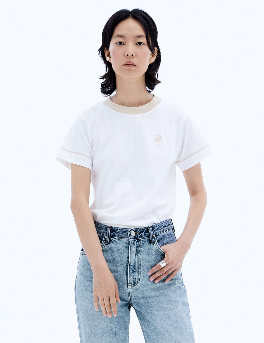Neck Coloration Top_Off White