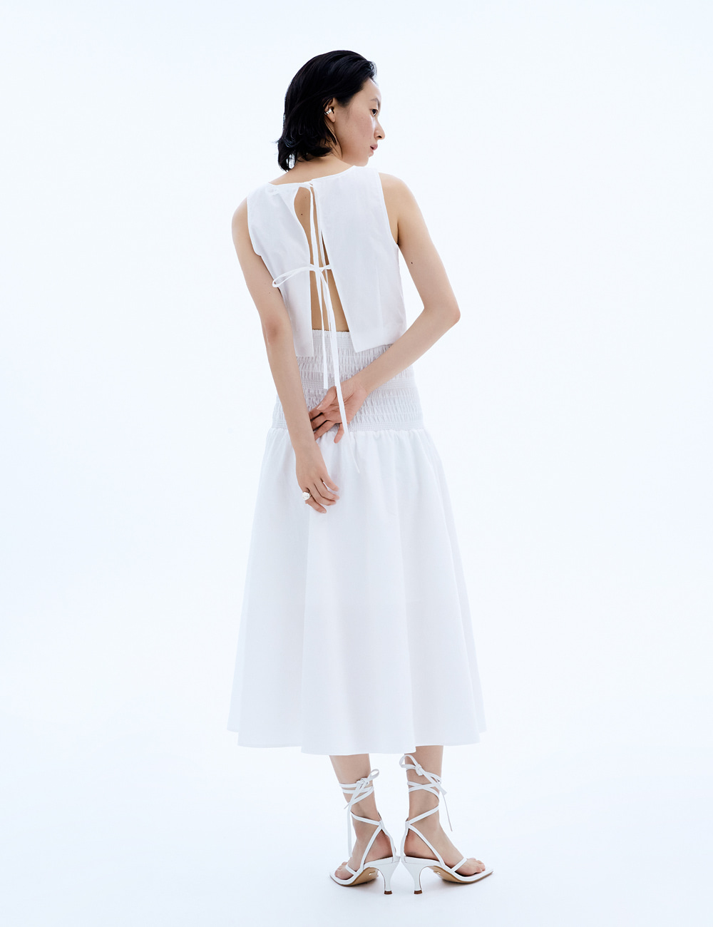 Tie Smog Dress Set_White