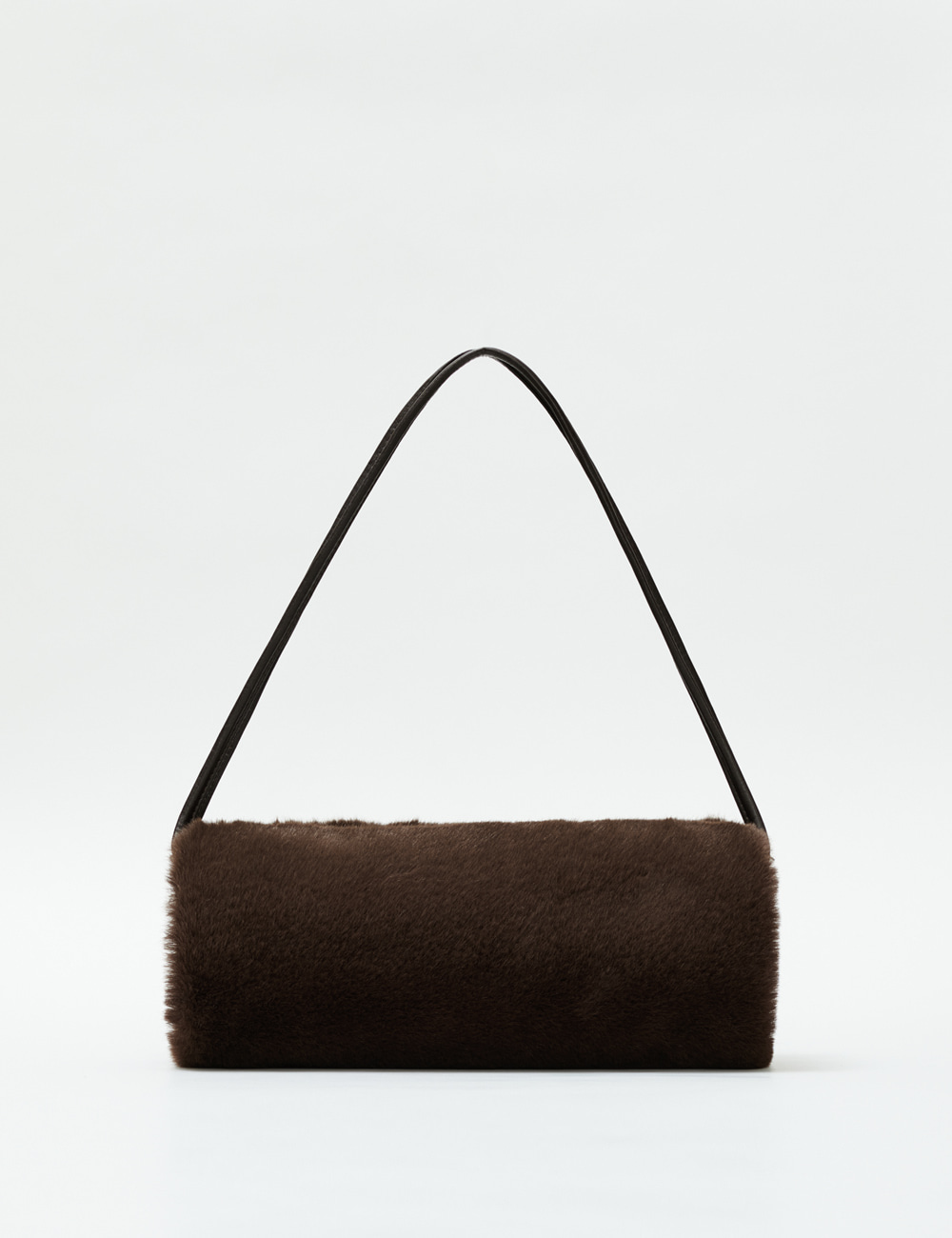 Minimal Barrel Fur Bag_Brownie