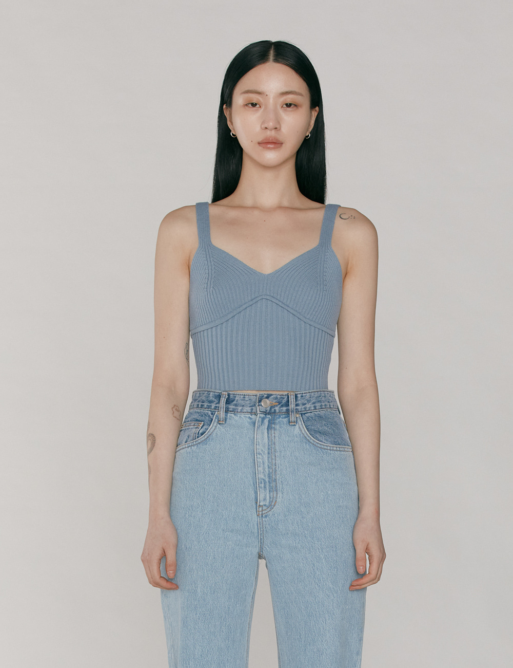 Wool Cami Knit Top_Baby Blue