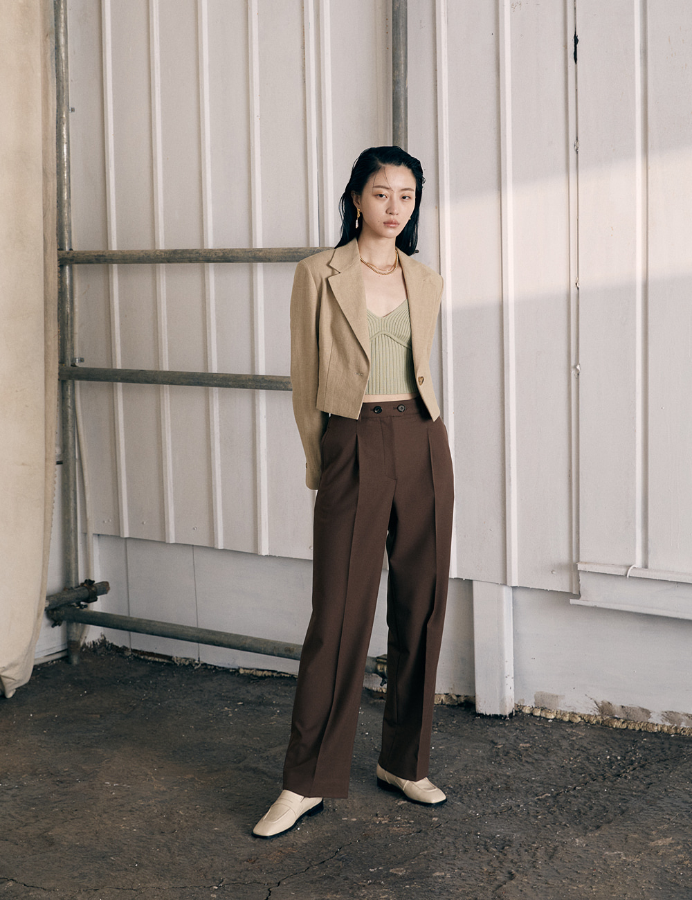Double Button Trouser_Red Brown